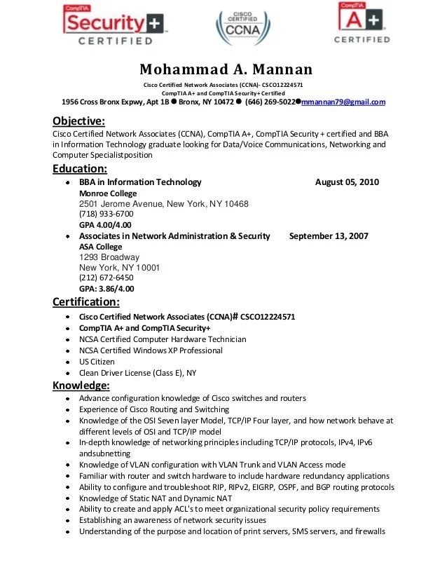 Entry level network analyst resume