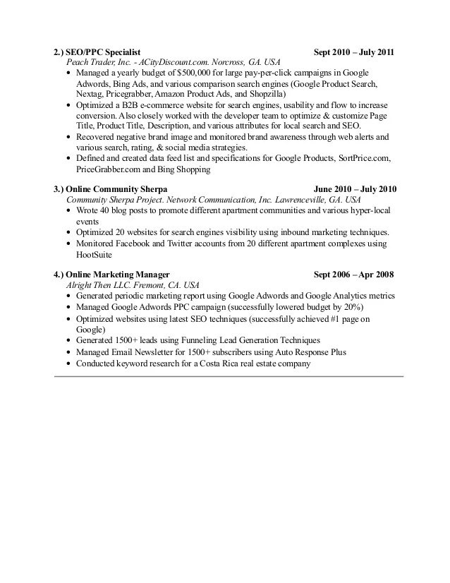 ppc specialist resume - Josemulinohouse