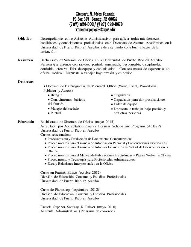resume en espanol - Selol-ink
