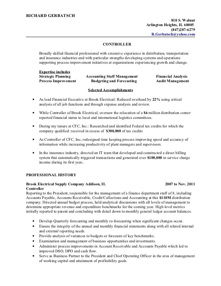 financial controller resume - Intoanysearch - accounting controller resume