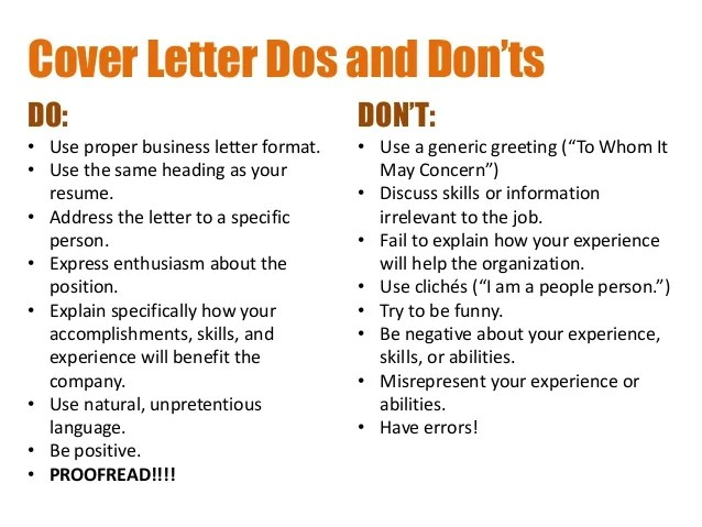 dos and donts cover letters - Solidgraphikworks - resume dos and donts