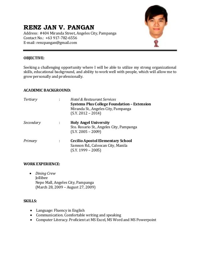 Sample Resume Format Experience Resumes Example Of Application Letter For  Ojt Business Administration Example Of Application  Ojt Resume