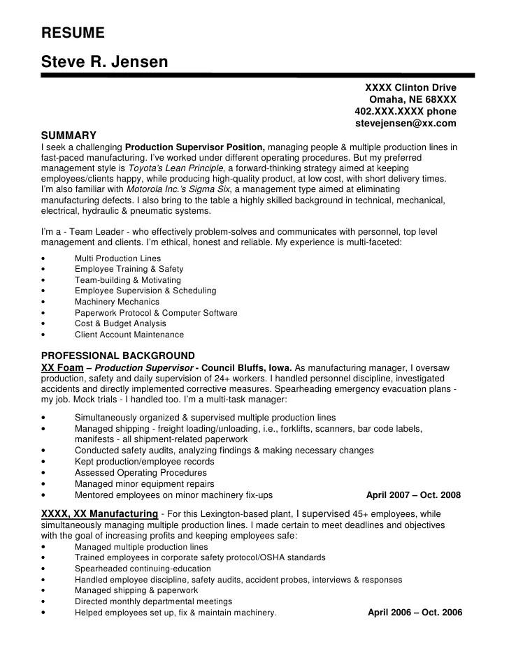 production manager sample resume - Nisatasj-plus