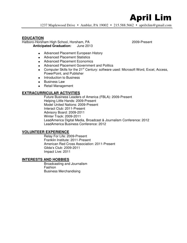 Sample Odf Resume