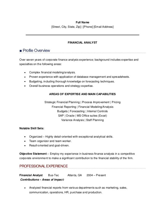 objective for a business analyst resume - Sample Financial Analyst Resume