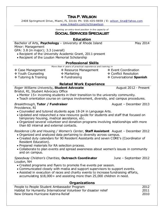 Social services caseworker cover letter – Social Work Resume Templates