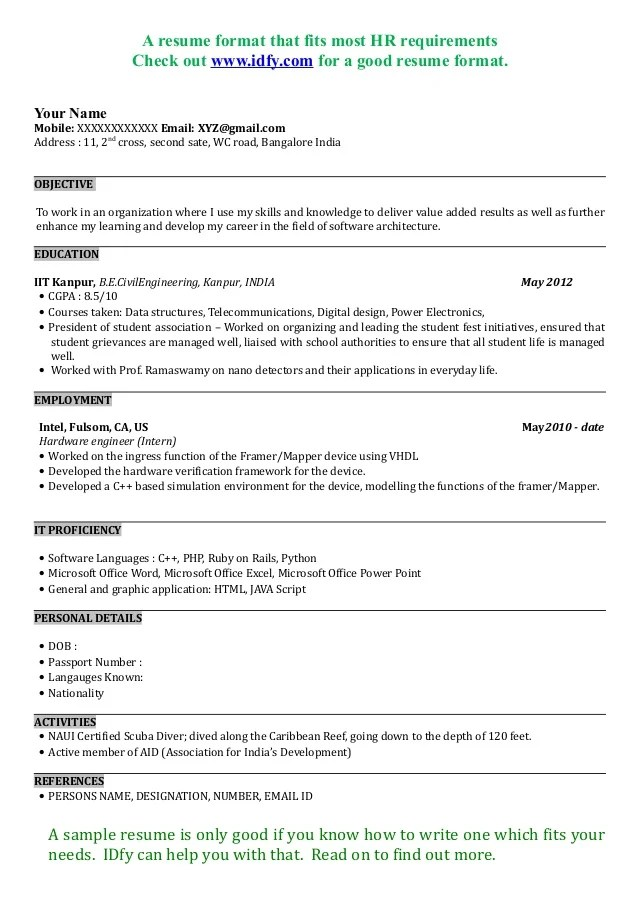 resume samples for freshers engineers pdf - Intoanysearch