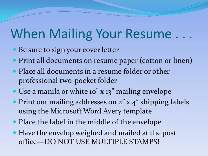 mailing resume and cover letter in envelope - Josemulinohouse - how to mail a resume and cover letter