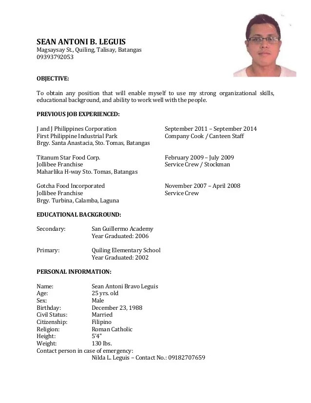 Resume Format Sample For Service Crew Cover Letter Examples Uc Davis