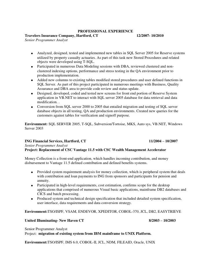 sql server dba etl sample resume