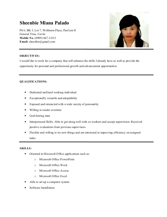 sample resume ojt accounting students