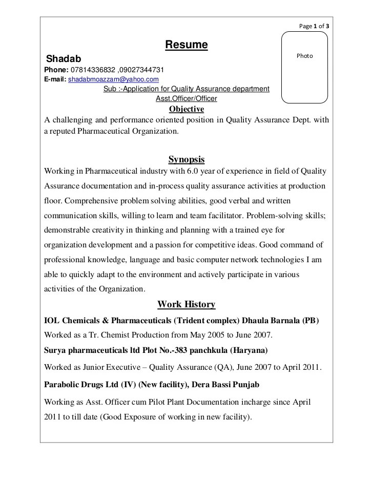resume sample pharmaceutical industry