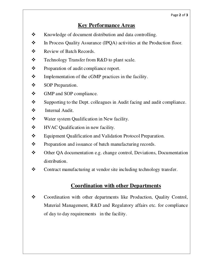 resume of quality control in pharmaceutical industry