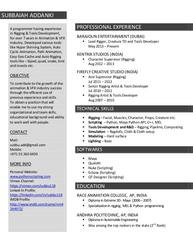 Animator Sample Resumes busboy resume sample - splashimpressions