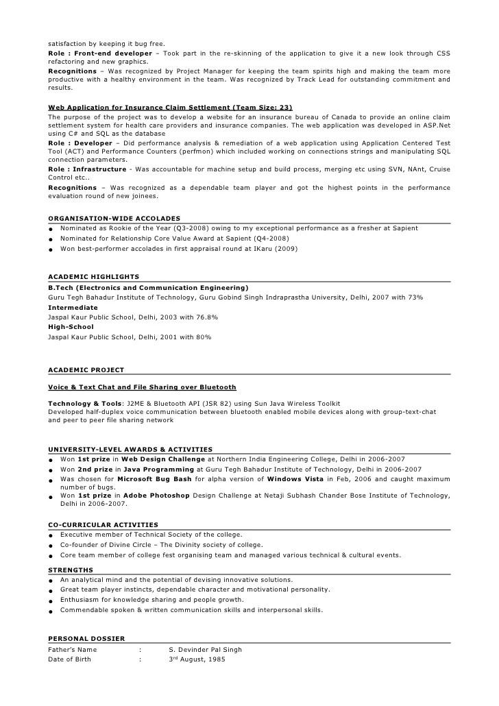 qa tester sample resume