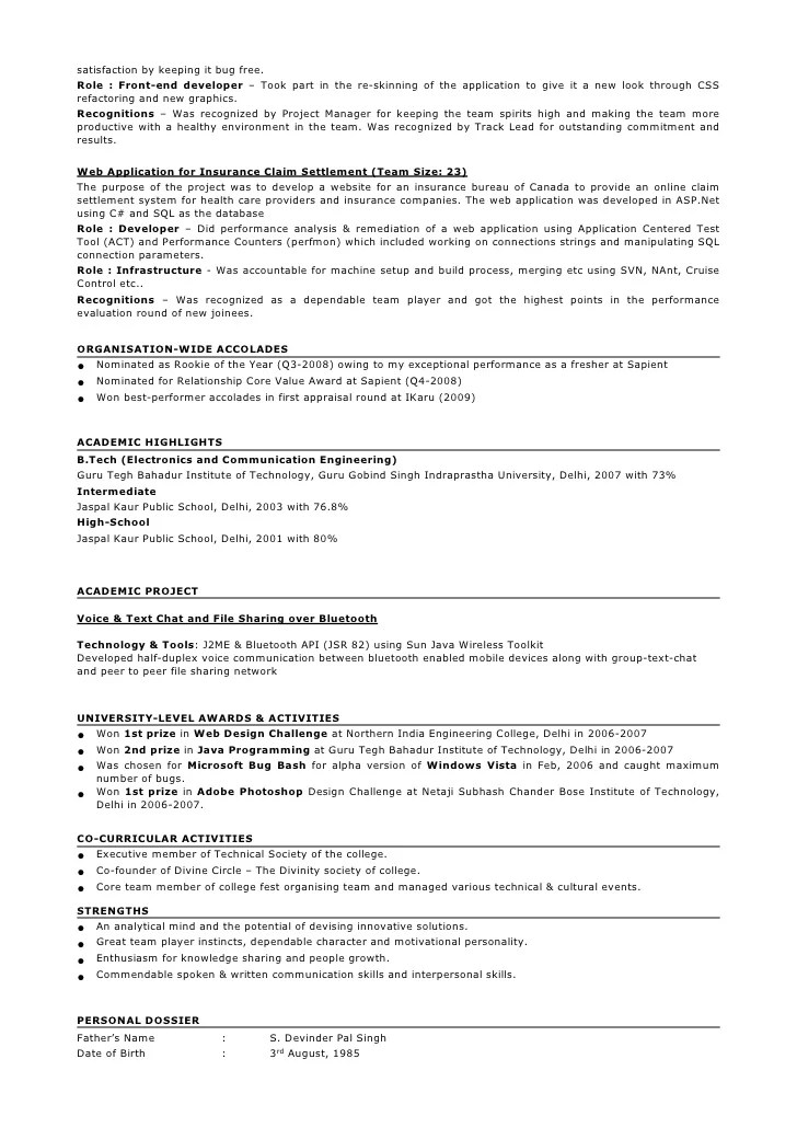 project manager resume in embedded systems sle