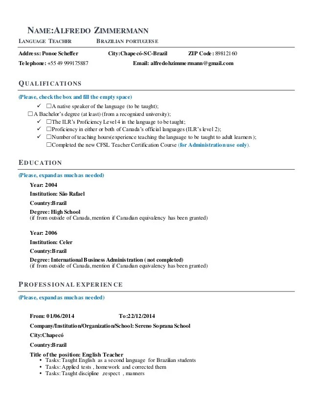 language coach resume