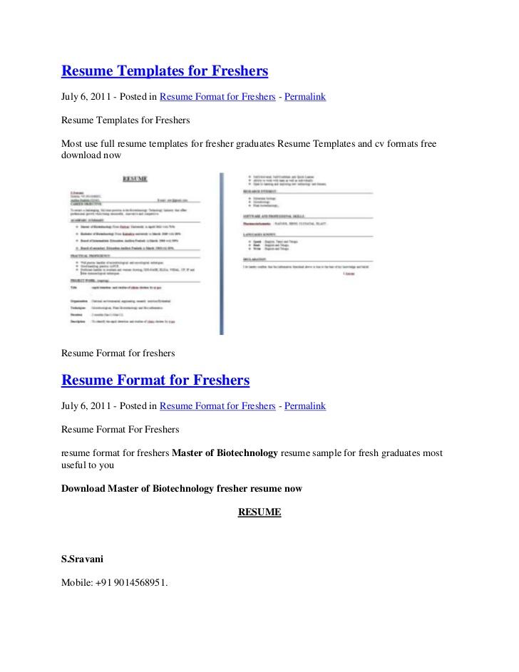 Sample resume for freshers mba altavistaventures Images