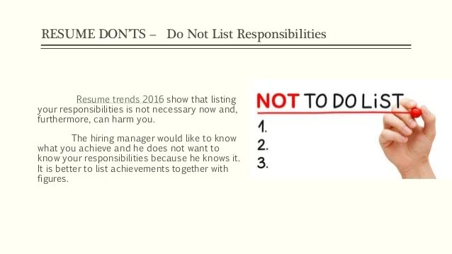 9 Dos And Donts For Your Application Resume Resume Tips 2016 Dos And Donts