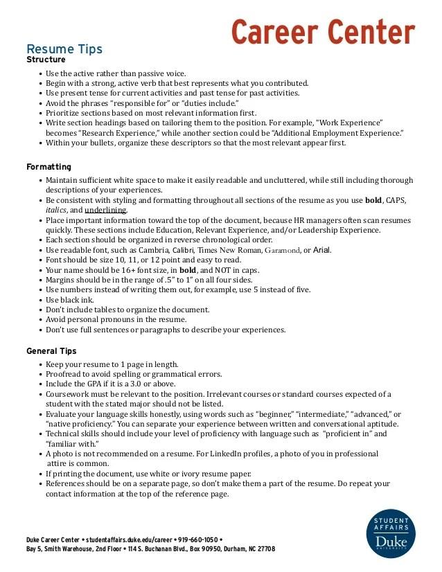 passive voice resume examples