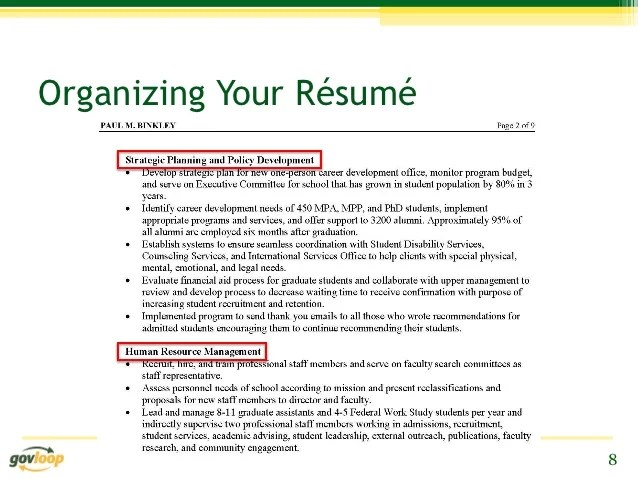 Developing Your Resume Teach In Ontario Resume Tips For Prospective Presidential Management