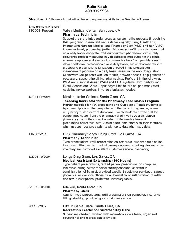 cvs pharmacy technician resume - Vatozatozdevelopment