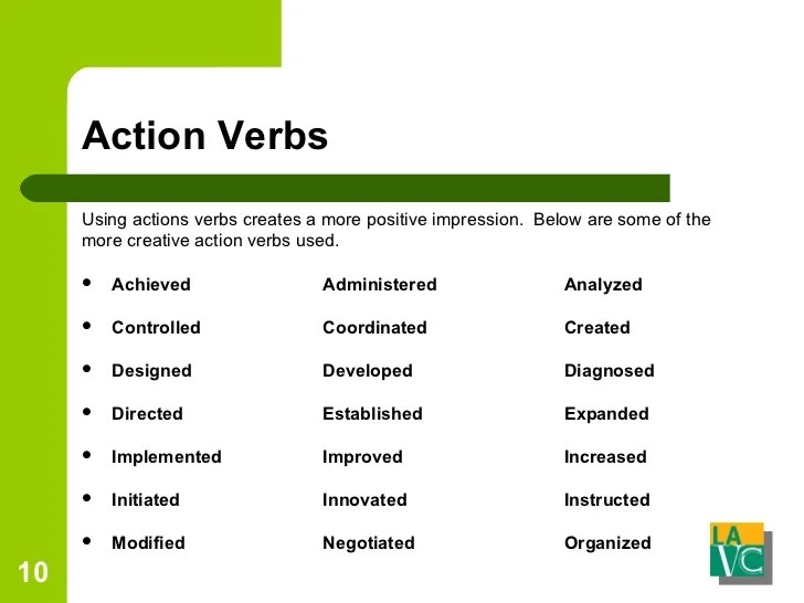 positive resume action verbs