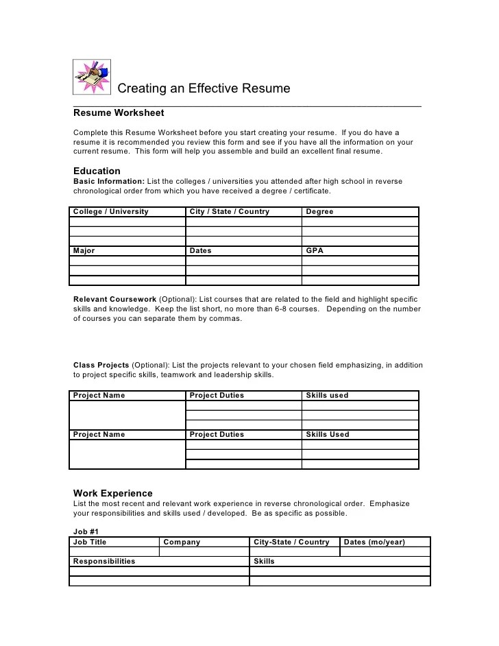Writing A First Resume High School – Resume Worksheet for High School Students