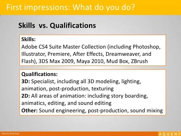 resume qualifications vs skills