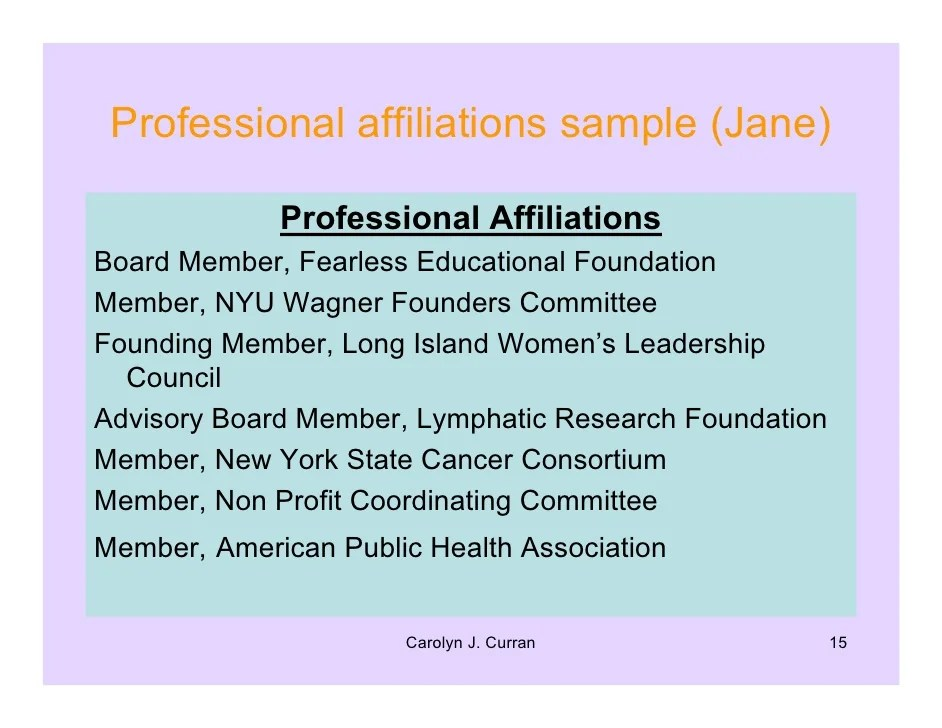 sample resume professional association parwcc professional association of resume writers and professional affiliations sample jane professional