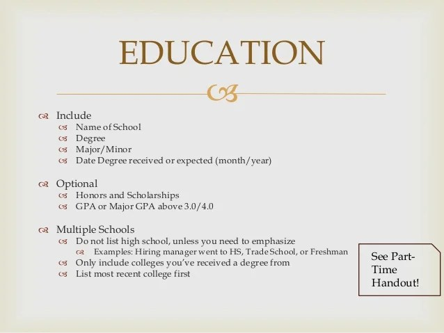 resume examples education bachelors honors