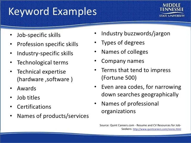 resume skills keywords list