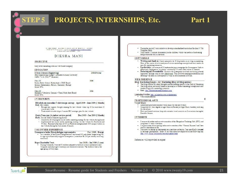 resume header for students