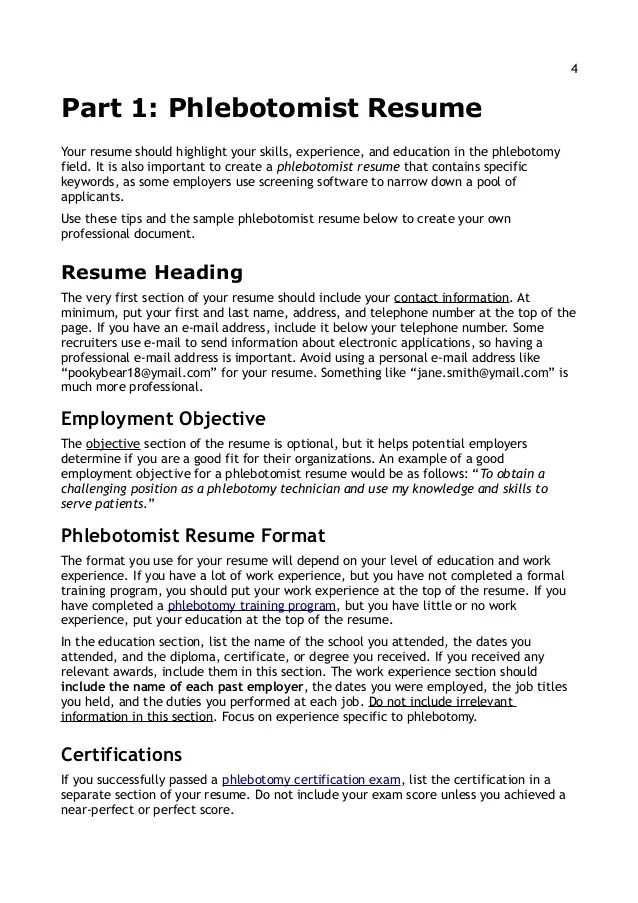 phlebotomy resume sample