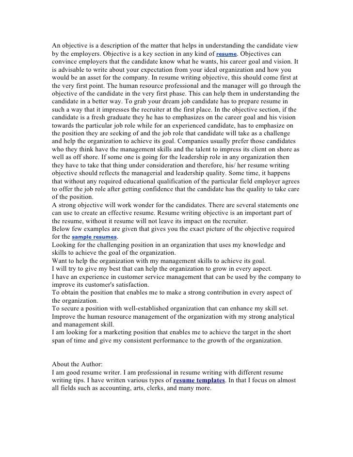 resume writing workshop objectives