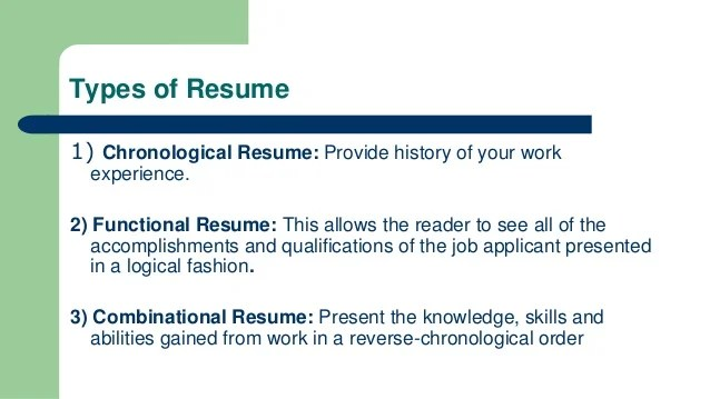 4 types of resumes - Onwebioinnovate - 3 Types Of Resumes