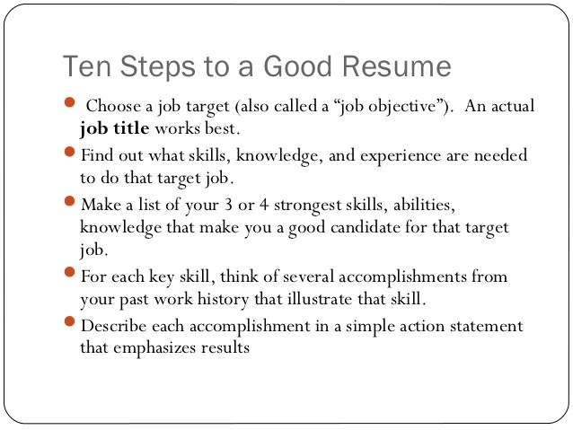 steps on how to do a resumes - Canasbergdorfbib
