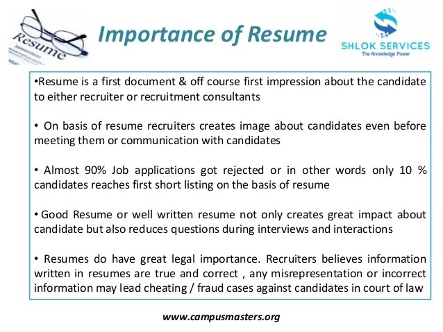 importance of a resumes - Trisamoorddiner