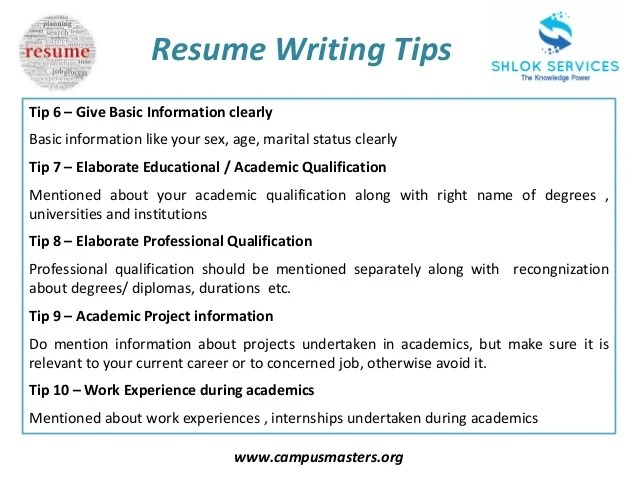 tips on writing resumes - Tutlinayodhya