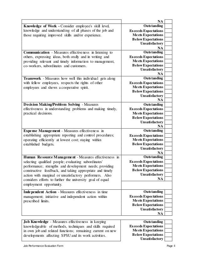 performance evaluation employee - Onwebioinnovate - on the job training evaluation form