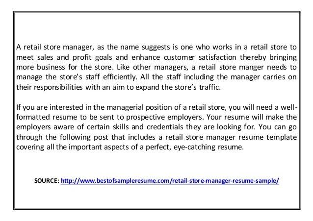retail store resumes - Josemulinohouse
