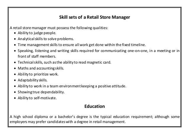 retail manager resume - Bire1andwap