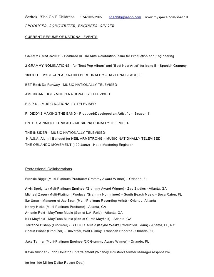 music production resume - Josemulinohouse