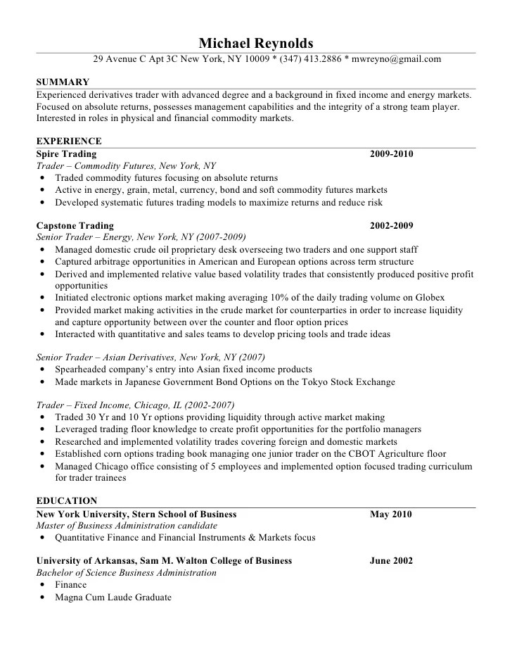 Amazing Junior Trader Resume