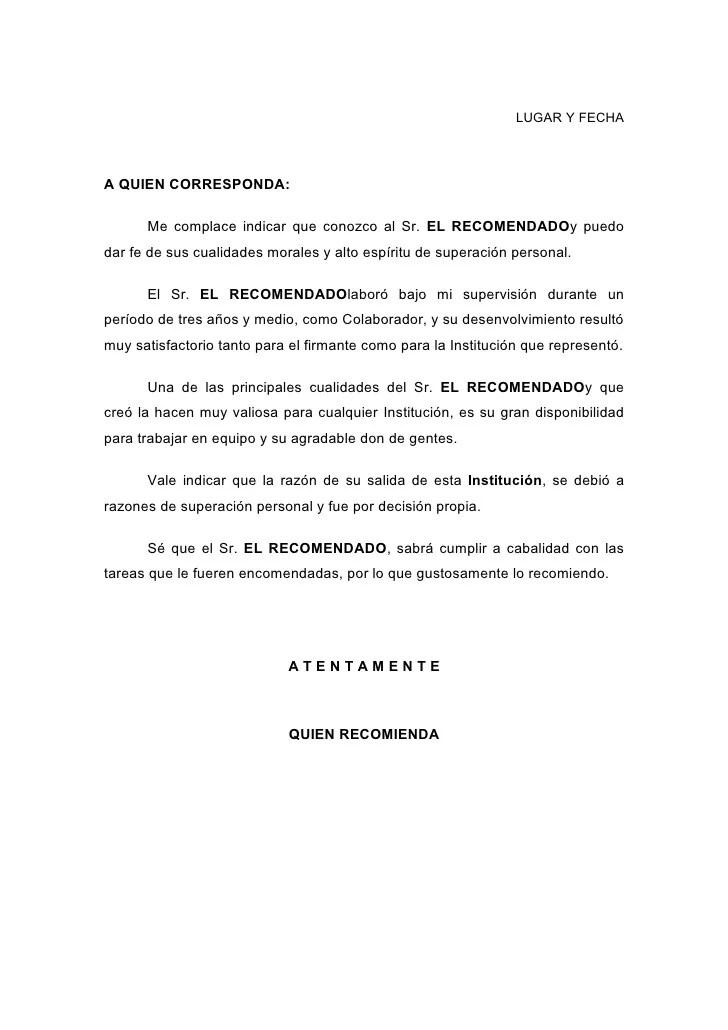 cartas de recomendacion personal para un trabajo - Romeolandinez