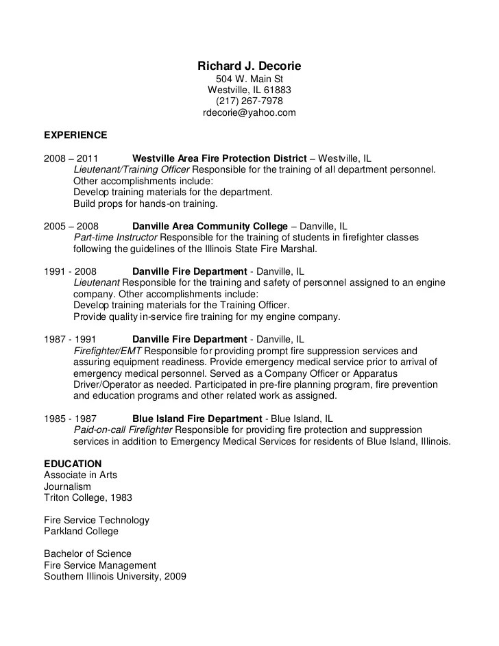 Job Description For Correctional Officer Resume Free Sample Bank Usa Fire Lieutenant