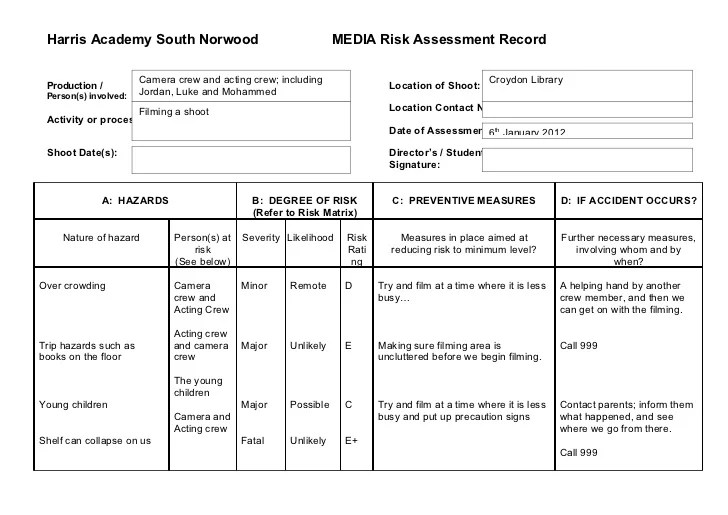 Doc14211004 Risk Assesment Sample Risk Assessment Form – Sample IT Risk Assessment