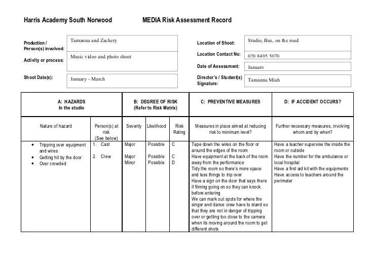Doc500500 Risk Assessment Form Template Free Fire Risk – Sample Risk Assessment Form