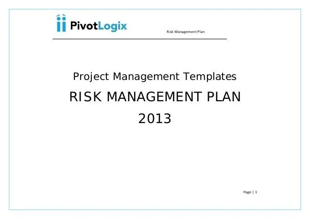 risk management plan template - Onwebioinnovate