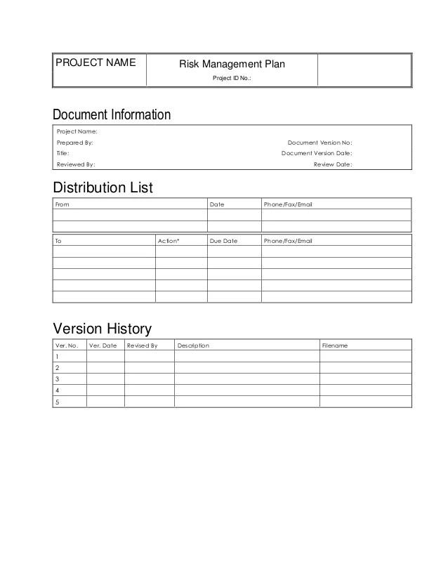 project plan template doc - Roho4senses - risk management plan template